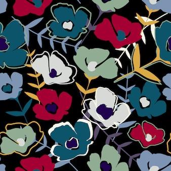 Abstrato moderno simples pequenas flores e folhas de papel de parede sem fim.