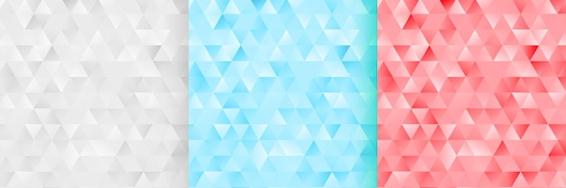 Abstrato monótono triângulo padrão de fundo conjunto de três