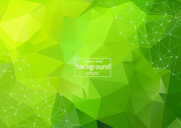 Abstrato multi verde poligonal espaço fundo com linhas e pontos de conexão