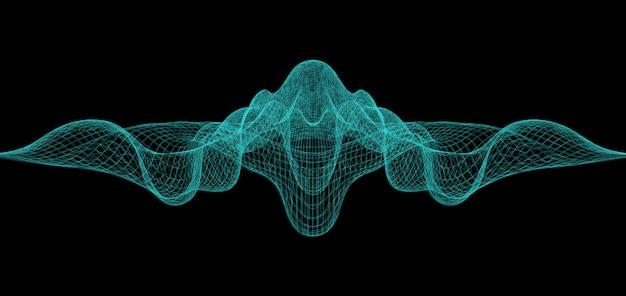 Abstrato ondulado com wireframes.