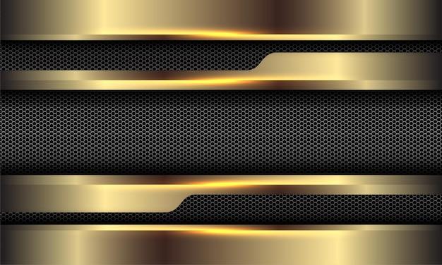 Abstrato ouro metálico cinza hexágono malha geométrica luxo futurista ilustração vetorial de fundo