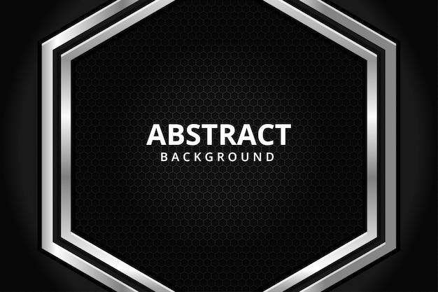 Abstrato papel de parede futurista moderno de aço hexágono de metal em preto e branco