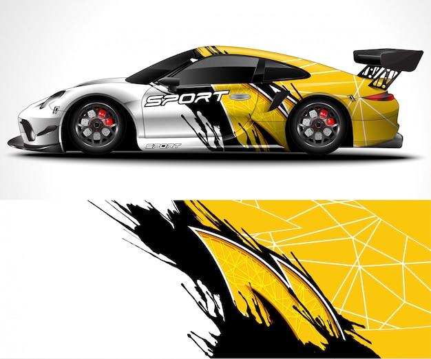 Abstrato para corridas sport car wrap design e decoração do veículo