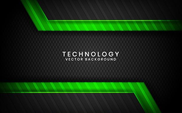 Abstrato preto 3d tecnologia sobreposição de camadas no espaço escuro com decoração de efeito de luz verde