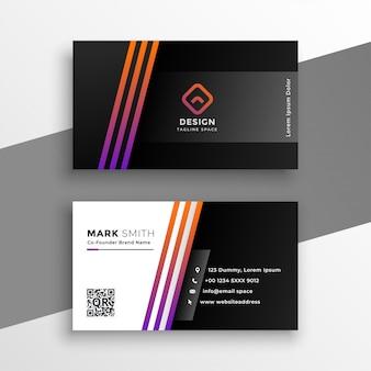Abstrato preto cartão de visita com linhas coloridas