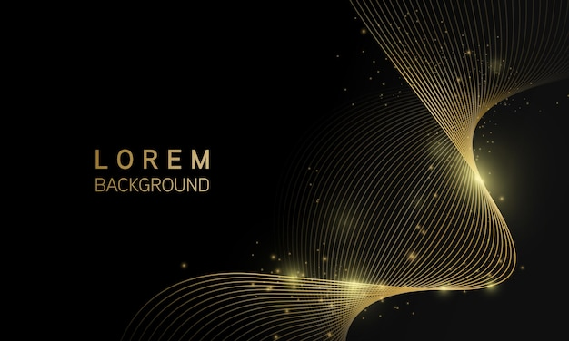 Abstrato preto com brilho de luz dourada de onda de linha, conceito moderno de luxo.