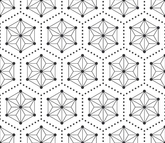 Abstrato preto e branco sem costura padrão geométrico