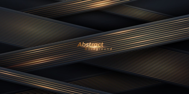 Abstrato preto e dourado. fundo geométrico de luxo com linhas douradas.