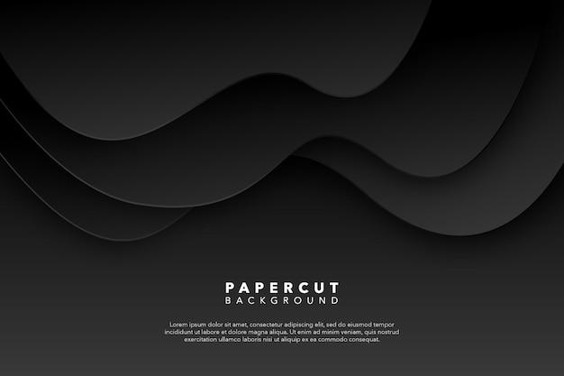Abstrato preto papel cortado fundo