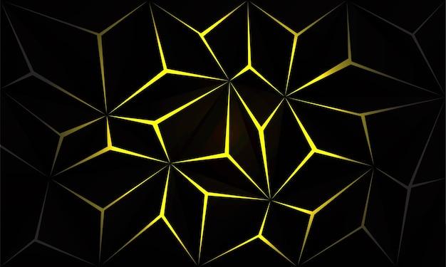 Abstrato preto polígono luz amarela futurista tecnologia design fundo vetor