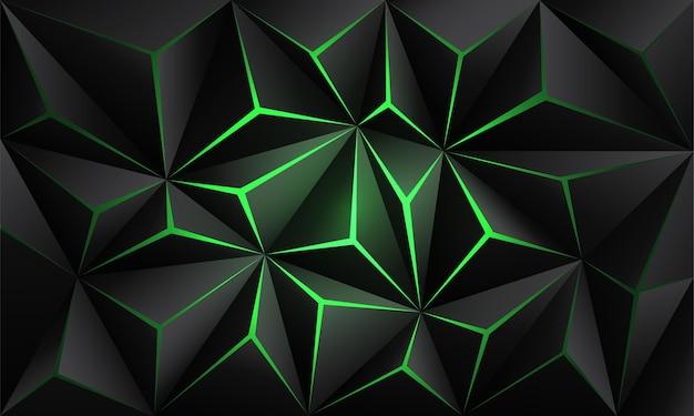 Abstrato preto polígono luz verde futurista tecnologia design fundo ilustração vetorial.