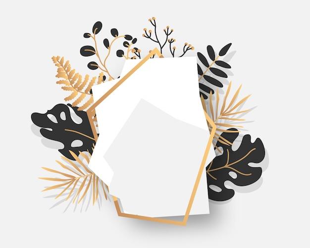 Abstrato quadro floral ouro com folhas tropicais exóticas, galhos, bagas. modelo vazio para texto. bandeira branca geométrica poligonal moderna decorativa de luxo. poliedro closeup