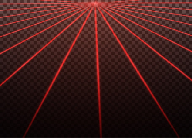 Abstrato raio laser vermelho. transparente isolado no fundo preto. ilustração. o efeito de iluminação. projetor direcional