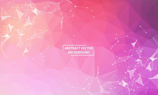 Abstrato roxo rosa espaço poligonal base com pontos e linhas de conexão. estrutura de conexão e fundo de ciência. design futurista de hud.