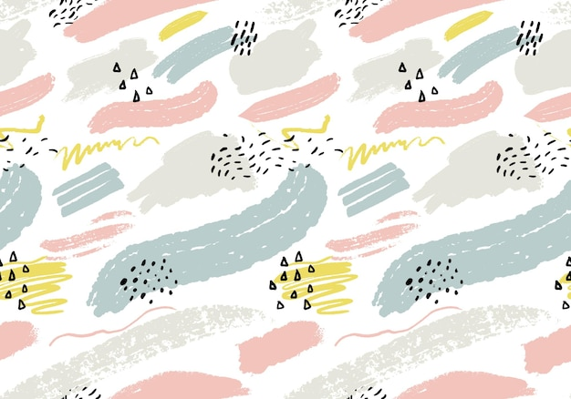 Abstrato sem costura com pinceladas artísticas. textura minimalista com marcas de mão. padrão de repetição para tecido e design de impressão.