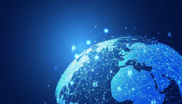 Abstrato tecnologia cyber segurança privacidade mundo proteger
