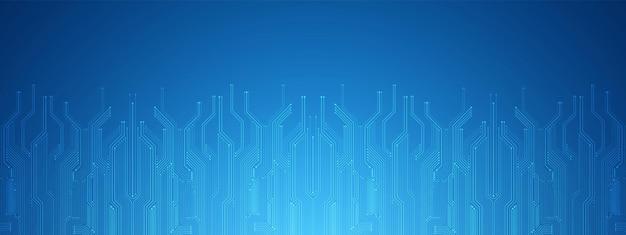 Abstrato tecnologia fundo azul placa de circuito digital padrão microchippower espaço em branco