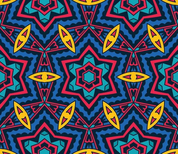 Abstrato tribal vintage étnico padrão sem emenda ornamental. projeto de fundo colorido festivo