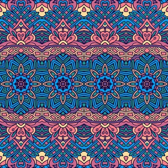 Abstrato tribal vintage têxtil indiano étnico sem costura padrão ornamental. fundo colorido da arte geomérica