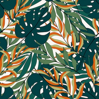 Abstrato tropical padrão sem emenda com plantas e flores exóticas coloridas