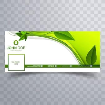 Abstrato verde folhas onda capa para facebook