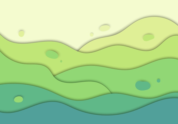 Abstrato verde natureza onda esculpir fundo projeto conceito papel arte estilo. ilustração vetorial