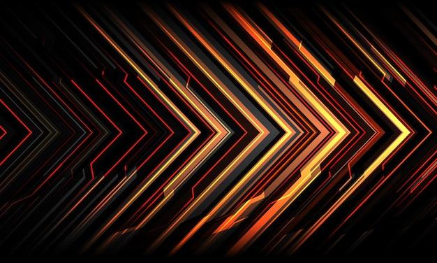 Abstrato vermelho amarelo seta preta linha circuito luz tecnologia geométrica cibernética direção futurista fundo moderno.