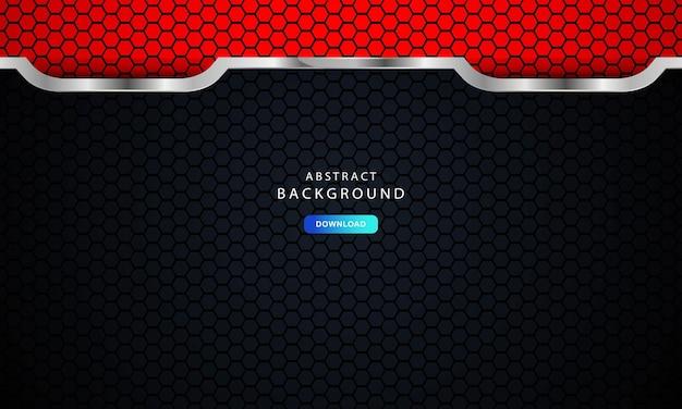 Abstrato vermelho escuro em linhas metálicas com design de padrão de malha hexagonal