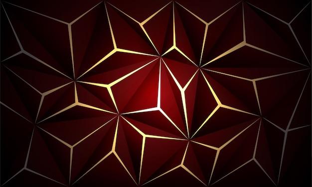 Abstrato vermelho profundo polígono ouro luz futurista tecnologia design fundo ilustração vetorial.