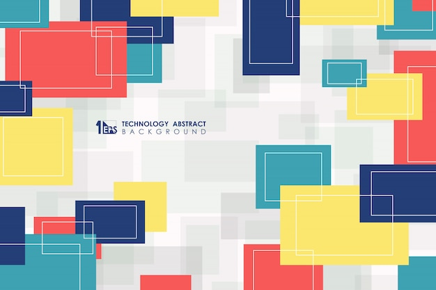 Abstrato vívido colorido quadrado padrão sem emenda