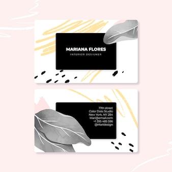 Abstratos cartões tropicais com linhas e folhas