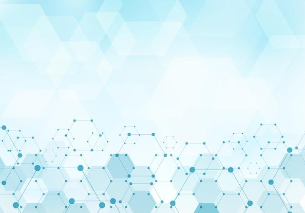 Abstratos, hexágonos, padrão, molécula, azul, fundo