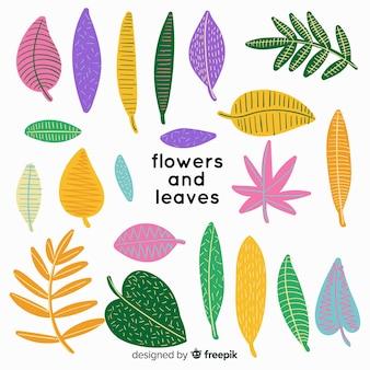 Abstratos, mão, desenhado, flores, e, folhas