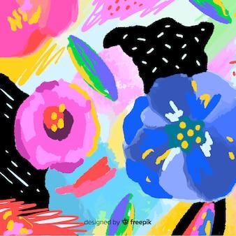 Abstratos, mão, pintado, floral, fundo