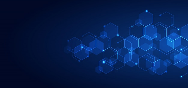 Abstratos tecnologia azul hexágonos padrão de fundo escuro