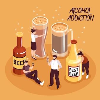 Abuso de álcool composição isométrica de caracteres humanos com cerveja em garrafas e copos na ilustração vetorial de fundo de areia