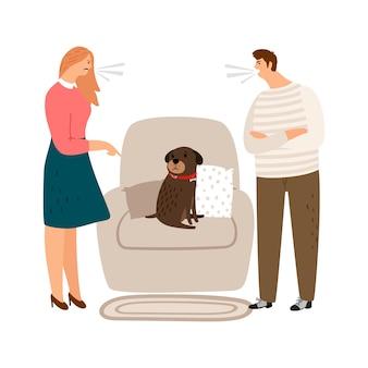 Abuso de animais. mulher e homem gritam, pessoas zangadas e ilustração de cachorro triste