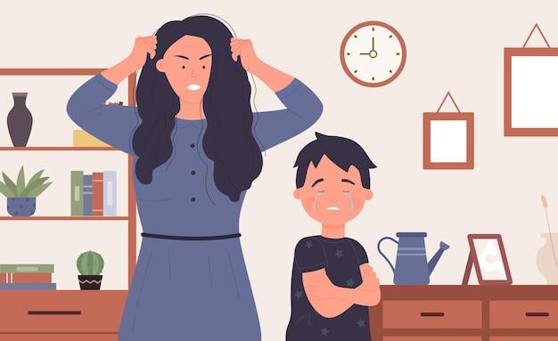 Abuso familiar, jovem mãe zangada gritando com tristeza chorando filho criança menino vítima de violência