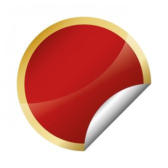 Acabamento brilhante círculo vermelho com moldura dourada emblema em branco ícone ima