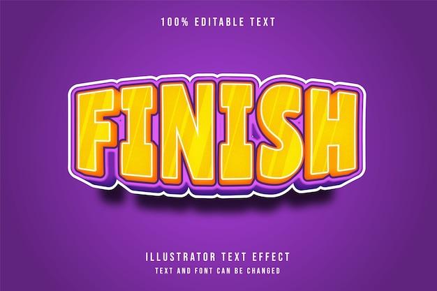 Acabamento, efeito de texto editável em 3d amarelo roxo estilo cômico