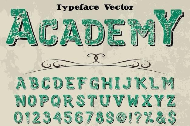 Academia de design de vetor artesanal de fonte