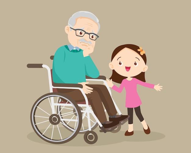 Acalme o triste avô sentado em uma cadeira de rodas com os netos