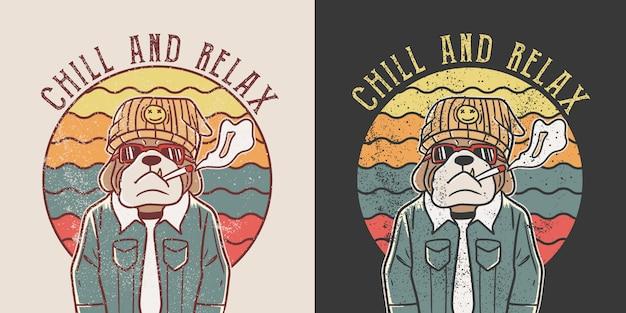 Acalme-se e relaxe. ilustração retrô hippie bulldog