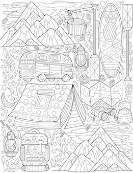 Acampamento ao ar livre doodle montanhas pequenas lâmpadas de ônibus canoa incolor desenho de linha exploração da natureza