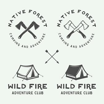 Acampamento ao ar livre e emblema de aventura