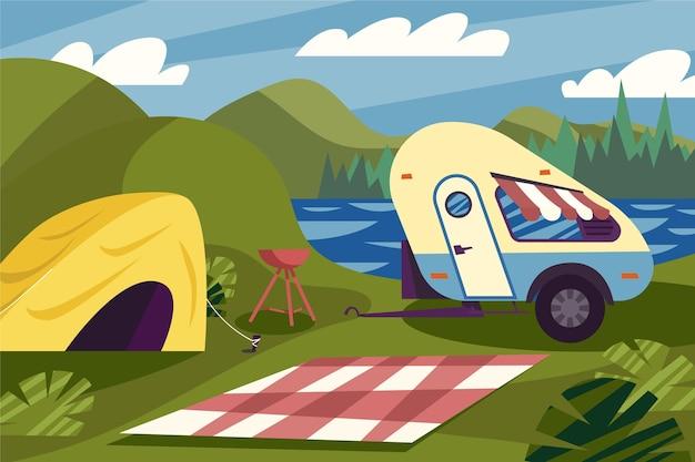 Acampamento com caravana e tenda