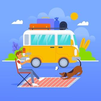 Acampamento com conceito de caravana