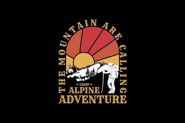 Acampamento de aventura alpino, design de silhueta em estilo retro