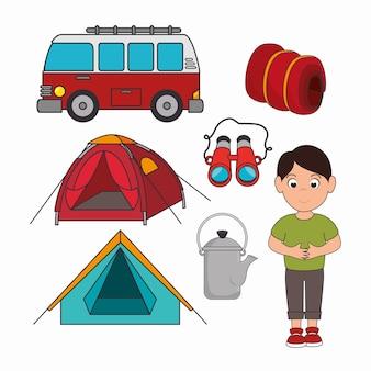 Acampamento de férias e viagens