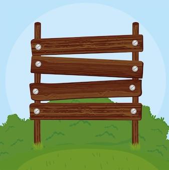 Acampamento de sinalização de madeira